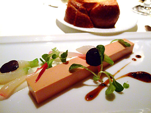 Moulard duck 'foie gras terrine', Tokyo turnips, pickled ramps, black truffles, garden mâche and toasted brioche