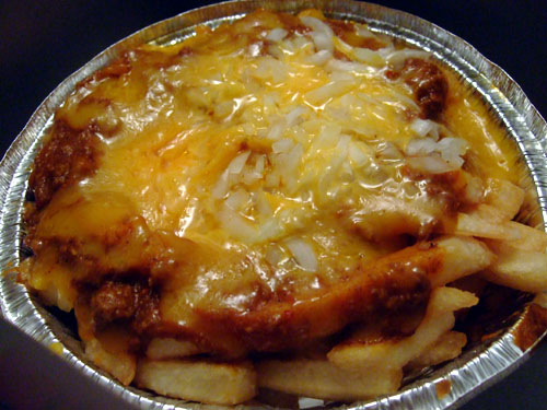 Chili-cheese fries with onions