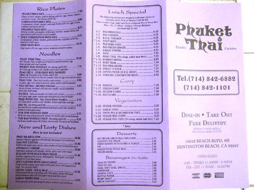 Phuket Thai Restaurant Huntington Beach Menu