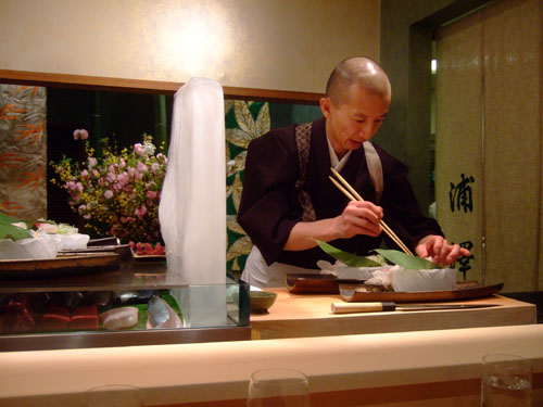Hiro-san Makes Put the Final Touches on the Sashimi