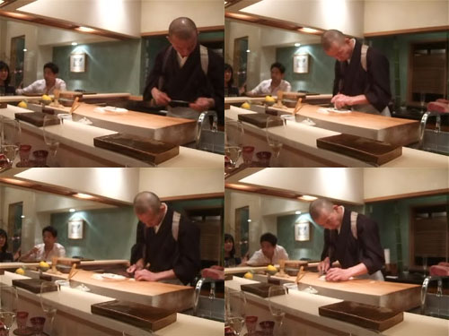 Hiro-san Cuts Thin Slices of Awabi, Then Scores It With His Knife