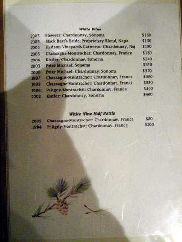 Drink Menu Page 3: White Wine, White Wine Half Bottle