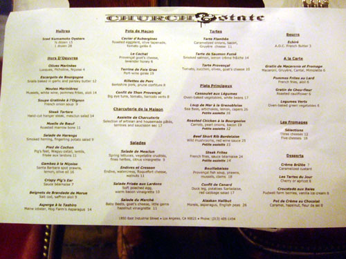 Church & State Menu