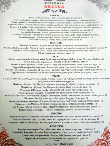 Pizzeria Ortica Menu