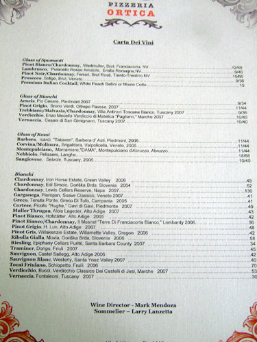 Pizzeria Ortica Wine List