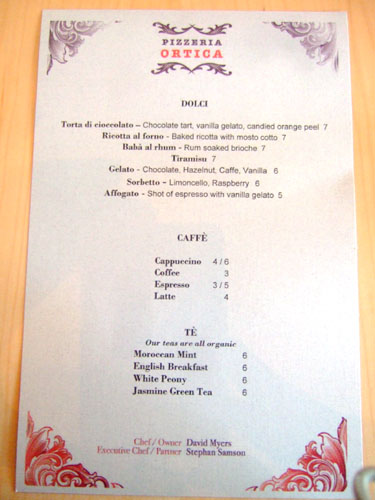 Pizzeria Ortica Dessert Menu