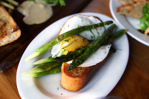 Asparagus with Toast, Brown Butter Sauce, and Fried Egg