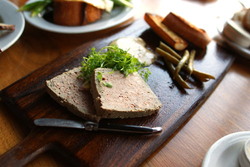 Lamb Terrine with Caraway-Beer Sauce and Pickled Green Beans