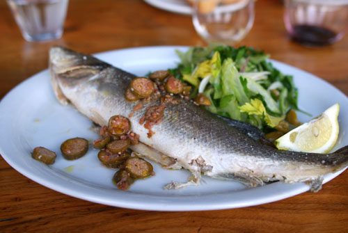 Salt Roasted Branzino with Parsley and Celery Salad and Caperberries