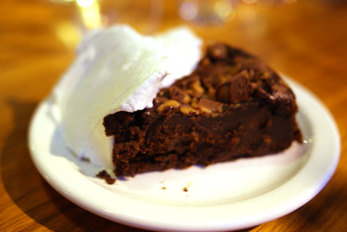 Flourless Chocolate Cake with Toffee and Vanilla Ice Cream
