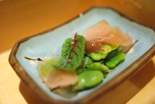 Fava Beans with Pickled Watermelon Radish