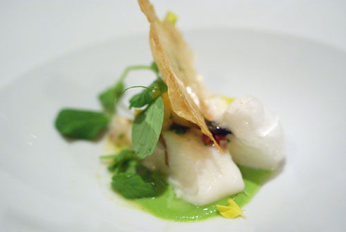 Steamed Halibut with Spring Peas