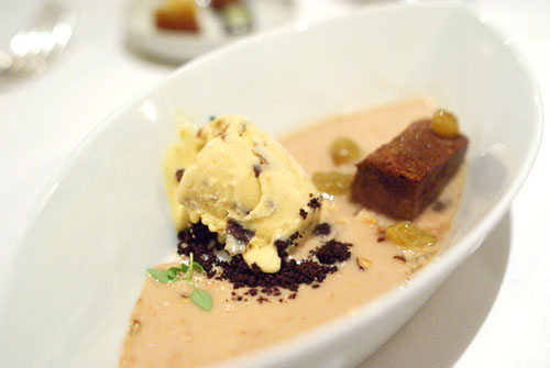 Oloroso Sherry-Raisin Ice Cream with Chocolate Cotton Cake & Dried Plums