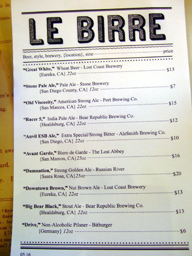 Pizzeria Mozza Beer List