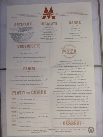 Pizzeria Mozza Menu